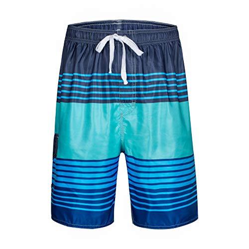 Clothin Men's Quick Dry Beach Boardshort Swim Trunks Swimming Shorts(Blue Green,US 36) ()