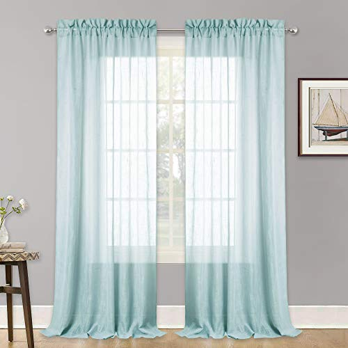 RYB HOME Window Sheer Curtains 95 inches Long, Semi Voile Panels for Girls Room/Nursery, Rod Pocket Half Transparent Sheer Window Treatments for Living Room, Blue Haze, 52