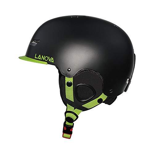 LANOVAGEAR Kids Adult Ski Sports Helmet for Youth Men Women with Mini Visor (Black, M (21.7-22.8in)) ()