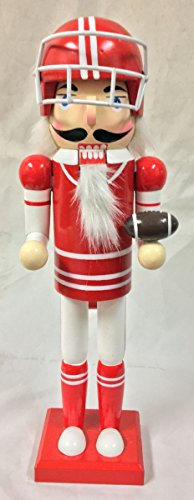 (Red American Football Player Sports Wooden Christmas Nutcracker 14 Inch New)