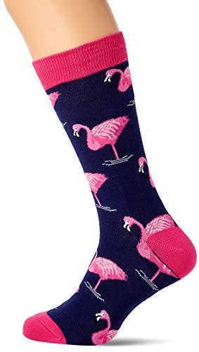 Socksmith Mens Pink Flamingo Trouser Socks, Navy One Size