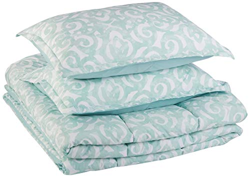 (AmazonBasics Comforter Set - Soft, Easy-Wash Microfiber - Full/Queen, Teal Scroll)