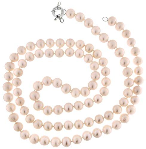 Collier Perles Couleur cultivées eau douce 11-12mm 14mm long 100cms pression photographie Argent