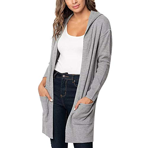 Ulanda Women's Hooded Long Sleeve Knitwear Open Front Cardigan Sweaters Solid Knitted Hooded Coat Outerwear