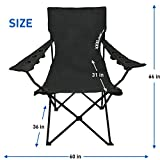 Giant Oversized Big Portable Folding Camping Beach Outdoor Chair with 6 Cup Holders! Fold Compact into Carry Bag (Black)