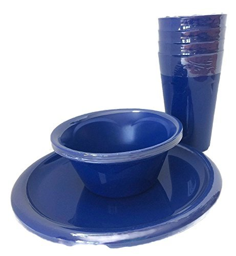 Everyday Dinnerware - Plastic Blue Plate Set - 4 Cups, 4 Bowls And 4 Plates - 12 Piece Set (Blue) Picnic, Party or Everyday by Mainstay