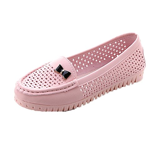 Kingko® Women Girls Summer Hollow Out Flats Casual Comfort Low Heels Shoes Fashion Loafers Pink B G3fnkv