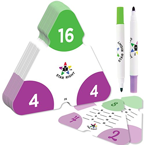 Star Right Math Triangle Flash Cards, Multiplication and Division Facts 0-12, Double-Sided, 2 Write and Wipe Cards Included, 2 Erasable Markers, for Ages 8 & Up