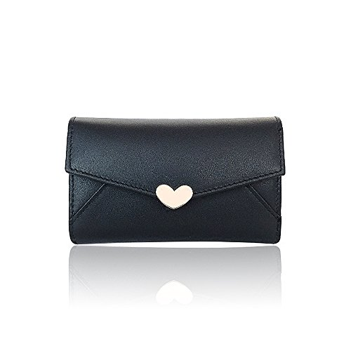 Woolala Envelope Short Leather Wallet with Key Ring Purse for Women Girls, (6 Key Holder Wallet)
