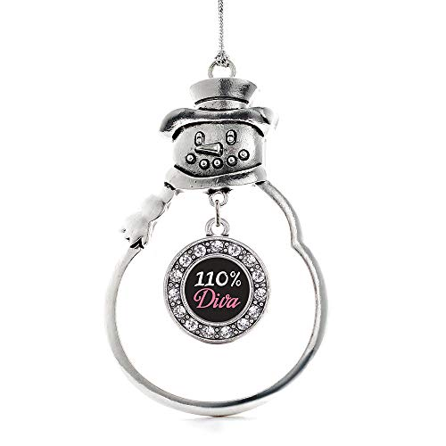 Inspired Silver - 110% Diva Charm Ornament - Silver Circle Charm Snowman Ornament with Cubic Zirconia Jewelry