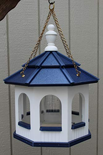 Poly Amish Gazebo Bird Feeder Octagon Hanging w/Chain Yard Handcraft Homemade White/Blue