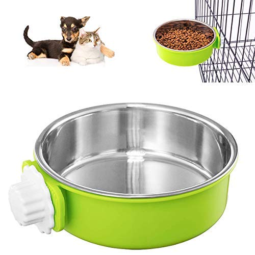 DeaLott Stainless Steel Dog Bowl, Removable Hanging Pet Cage Bowl Large Crate Water Food Feeder Coop Cup for Dogs Cats Rabbits, Birds-Green
