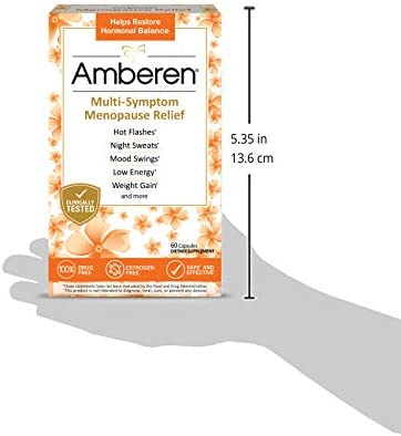 Amberen: Safe Multi-Symptom Menopause Relief. Clinically Shown to Relieve 12 Menopause Symptoms: Hot Flashes, Night Sweats, Mood Swings, Low Energy and More. 2 Month Supply 8