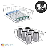 COMFECTO 15 Inch Under Cabinet Storage Stainless Steel Shelf Wire Basket Organizer for Cabinet Thickness Max 1.2 Inch, Extra Storage on Kitchen Counter Pantry Desk Bookshelf Cupboard, Set of 2 pcs