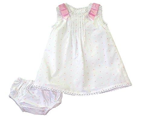 - White & Pink Pin Dot Dress & Bloomers - Newborn, 0-3 Months