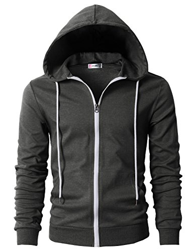 H2H Men's Casual Basic Hoodie with Side Pockets Charcoal US L/Asia XL (CMOHOL042)