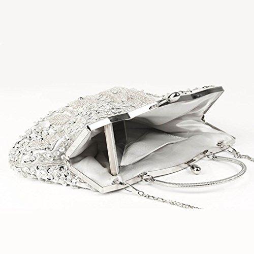 Vintage Silver Evening Clutch Shoresu Silver Women's Sequin Purse Flower Lock Kiss Beaded Wedding aFq5CF