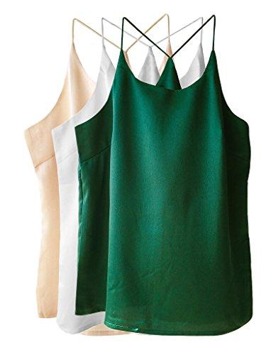 - Wantschun Womens Silk Satin Camisole Cami Plain Strappy Vest Top Sleeveless Blouse Tank Shirt US Size L ;Champagne+White+Green