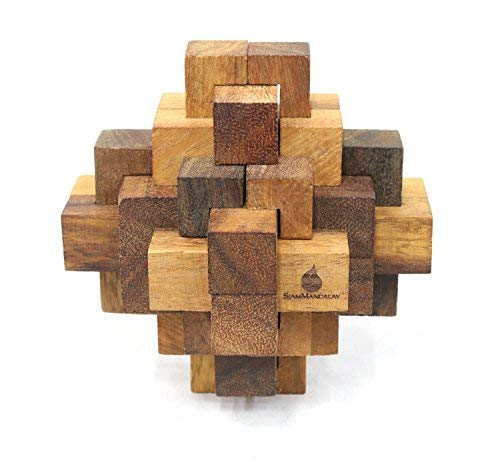 Symmetry Diamond: Deluxe Interlocking Mechanical Puzzle - Handmade & Organic 3D Brain Teaser Wooden Puzzle for Adults from SiamMandalay with SM Gift Box(Pictured)