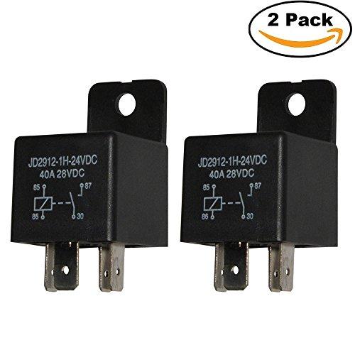 24v Relay (Ehdis Car Relay 4 Pin 24v 40amp Spst Model No.: JD2912-1H-24VDC 40A 28VDC, Auto Switches & Starters, 2 Pack)