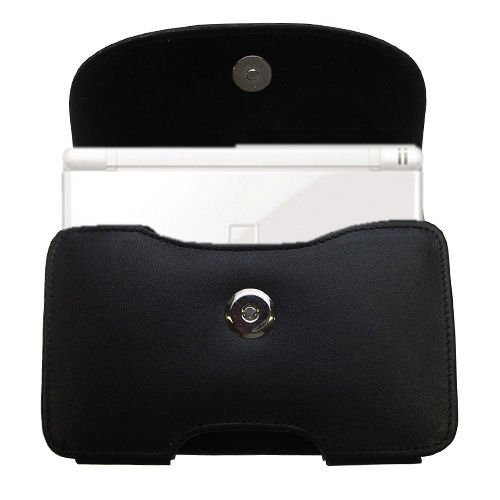 Belt Mounted Leather Case Custom Designed for the Nintendo DS Lite / DSLite - Black Color with Removable Clip by Gomadic