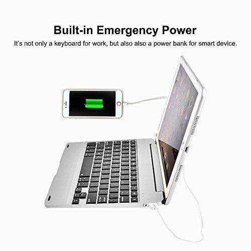 MOSTOP iPad Mini 4 Keyboard Bluetooth Slim Aluminum Wireless Keypad With 7-Color LED Backlit & Built-in 2800mAh Power Bank for iPad Mini 4 (Silver) by MOSTOP (Image #3)