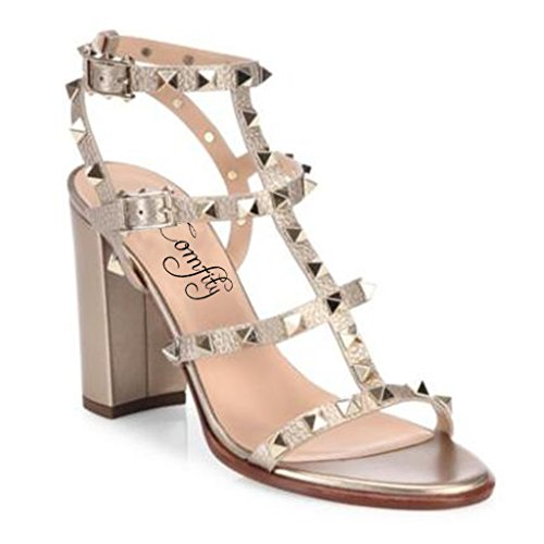 Sandals For Women,Rivets Studded Strappy Block Heels Slingback Gladiator Shoes Cut Out Dress Sandals Metallic 9cm