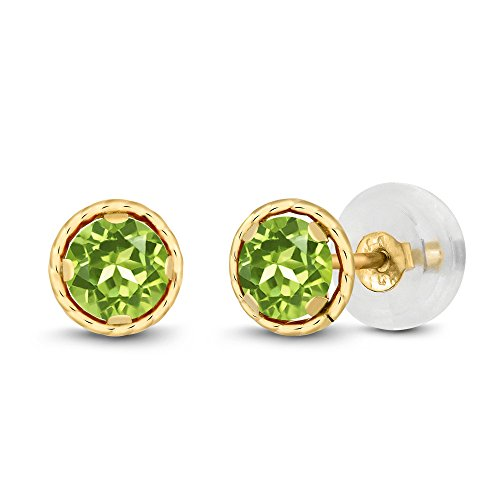 0.60 Ct Round 4mm Green Peridot 14K Yellow Gold Stud Earrings