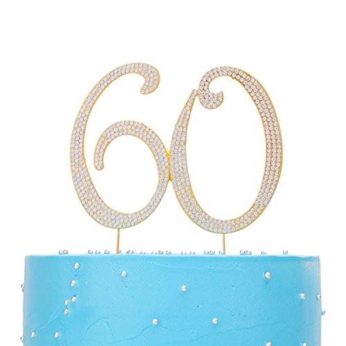 LOVENJOY Rhinestone 60 60th Birthday Anniversary Cake Topper Party Supplies Gold (5.8-inch) -