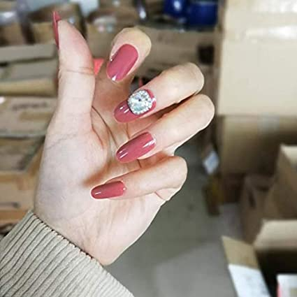 Interookie - 24 uñas postizas cortas de color rosa para ...