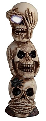 StealStreet Skull Stack of 3 with LED Light Collectible Figurine, 10.5""