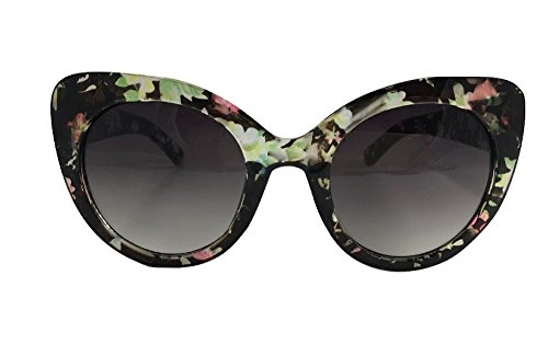 Oversized Vintage Retro Inspired Fashion Cat Eye Floral Frame Sunglasses - Sunglasses Collection