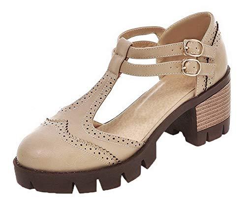 Medio Luccichio Tacco AgooLar GMMDB006039 Ballet Albicocca Puro Donna Fibbia Flats AqHx1vPS