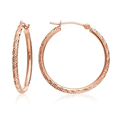 14k Gold Hand Engraved Diamond-cut Round Hoop Earrings -1'' Diameter (rose-gold) 14k Rose Gold Hoop Earrings