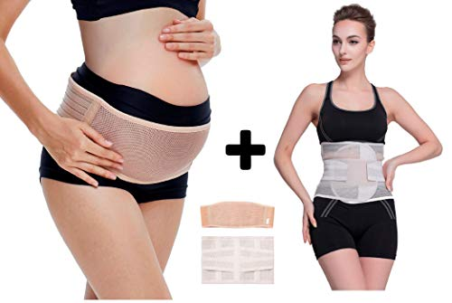 Pregnancy Belt and Postpartum Recovery Belly WRAP for Pelvic and Back Support, Maternity Breathable Belly Band and Pain Relief, Before/After Baby