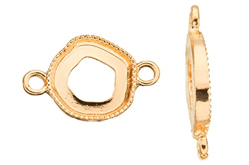 Abstract Pentagon Frame Gold Finished Link with Mounts, Fit 12x13 Crystal Or Cabochons xmm sold per pack of 2 (3pack bundle), SAVE - Frame Pentagon
