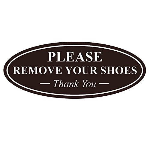 All Quality Oval Please Remove Your Shoes Thank You Sign - Dark Brown Small