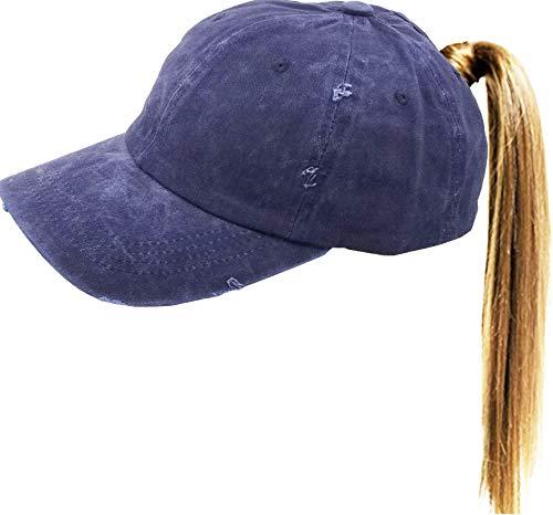 Eohak Ponytail Baseball-Hat Vintage Distressed - Washed Bun Tail Baseball Cap Cotton (Blue)