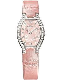 Beluga Tonneau Womens Pink Mother-of-Pearl Face Diamond Light Pink Leather Strap Swiss Quartz Watch 1216255