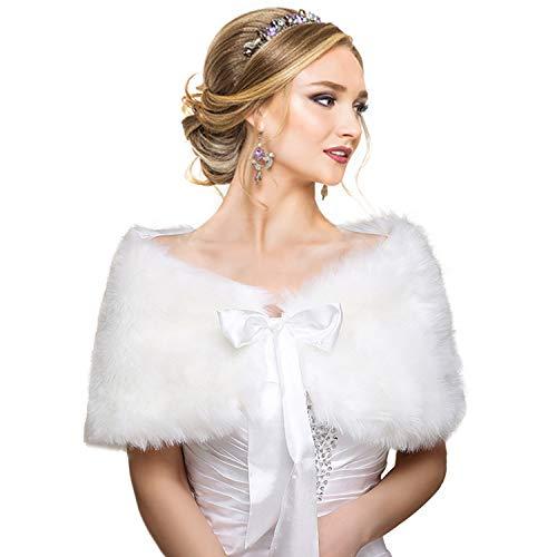 EQLEF White Faux Fur Wrap Shawl Shrug Bolero Cape Lady Gift with Satin Bowknot, Bridal Ivory Faux Fur Jacket Coat Shawls Stole (S/M) -