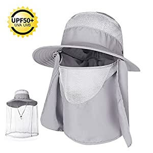 COPOZZ Outdoor Fishing Hat for Men Women, UPF 50+ Wide Brim Sun Hat Cap with Mosquito Net, Removable Face & Neck Flap, Breathable Boonie Hat for Backpacking Hiking Safari Beach Travel (Gray)