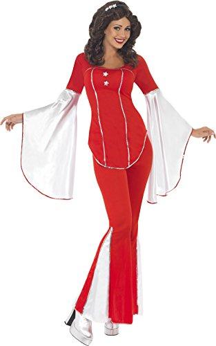 Smiffy's Women's Super Trooper Costume, Top, pants and Headband, 70 Disco, Serious Fun, Size 6-8, (70's Disco Fancy Dress Costumes)