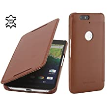 StilGut Book Type with Sleep/Wake Function, Leather Case for Google Nexus 6P, Cognac Brown