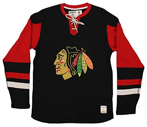 (Chicago Blackhawks Black CCM Long Sleeve Jersey Crew T-shirt X-Large)