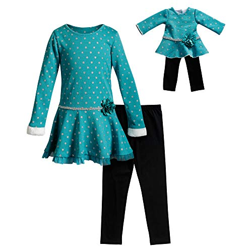 Dollie & Me Girls' Apparel Glitter Top with Leggings & Doll Outfit in Teal Size 8
