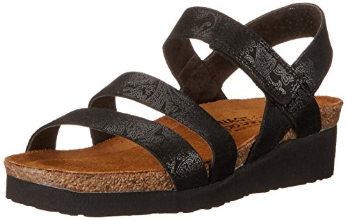 Naot Women's Kayla Wedge Sandal, Black Lace Nubuck,43 EU/12 M US