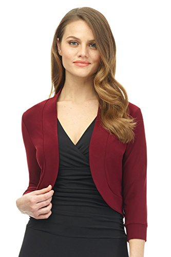 Rekucci Women's Soft Knit Rounded Hem Stretch Bolero Shrug (XX-Large,Burgundy)