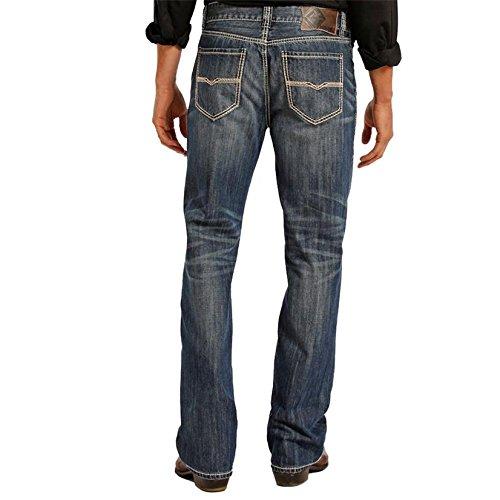 - Rock & Roll Denim Men's and Double Barrel Medium Wash Cream Embroidered Jeans Indigo 33W x 38L
