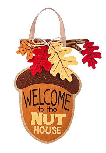 Evergreen Nut House Outdoor Safe Burlap Door Decor