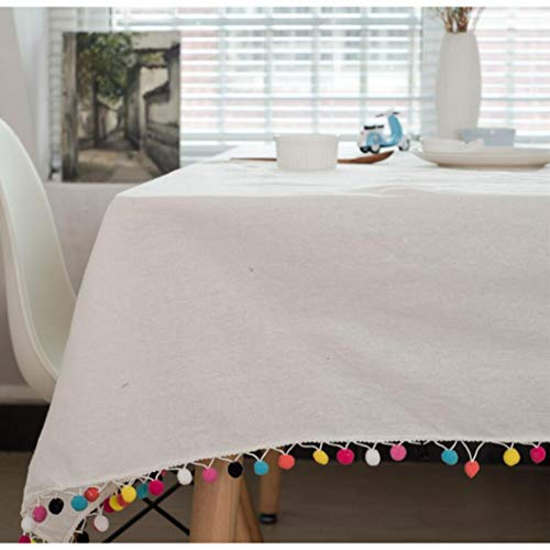 - RXIN Tassels Dinner Tablecloth Rectangular Cotton Linen Plaid/Striped Print Wedding Table Cloth for Home Tea Table Cover